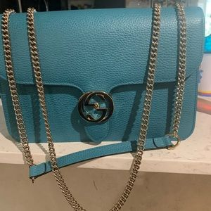 GUCCI BLUE PEBBLED INTERLOCKING handbag